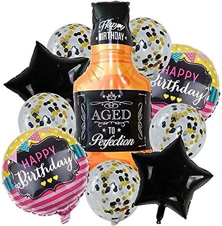 DIWULI 10 Globos de cumpleaños, Feliz cumpleaños, una Botella de Whisky de Globos de Papel de Aluminio + Estrella Confeti de los Globos de látex + Globos, cumpleaños, Fiesta de cumpleaños, decoración