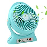 Accmor USB Mini Outdoor Portable Fan with Power Bank and LED Light Table Office Fan with 2000mAh Rechargeable Battery, Personal Portable Fan, Desktop Fan Blue
