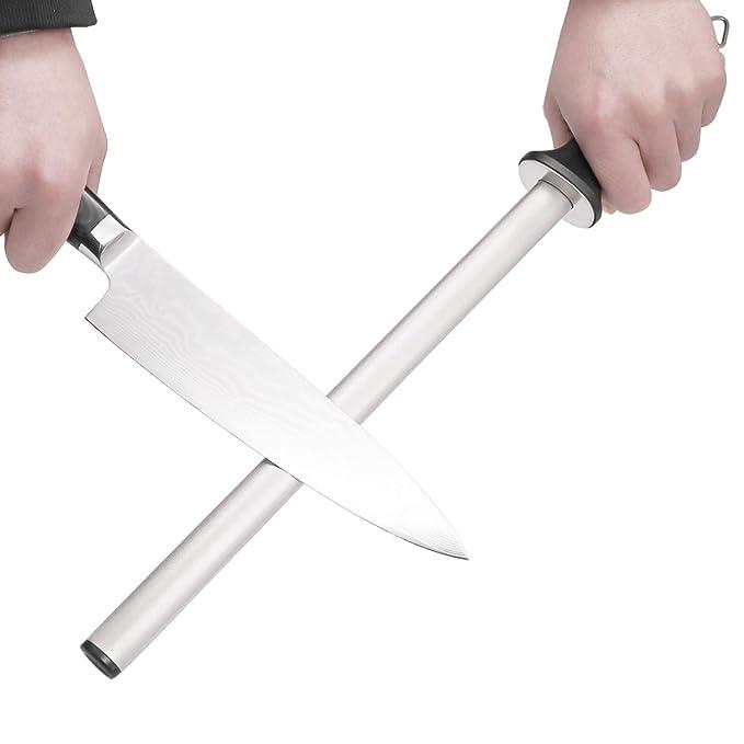 Wiitek 12inch Diamond Knife Honing Rod, Professional Chef Knife Sharpener Steel, Best Knife Honer, Kitchen Appliances, Ideal for Chef Knife, Cooking ...