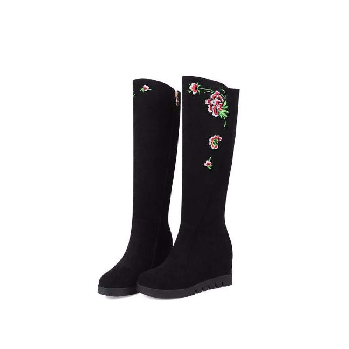 AJUNR-Ethnische Stil Retro Heel 7 cm Bestickte Stiefel Slim Innerer Größe Komfortable Steigung Ferse Hohe Stiefel Schwarz Wildleder - Stiefel