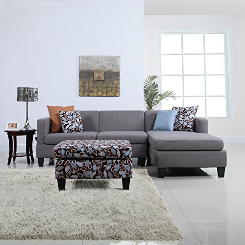 3 Piece Modern Grey Sectional Sofa With Ottoman And Floral Print