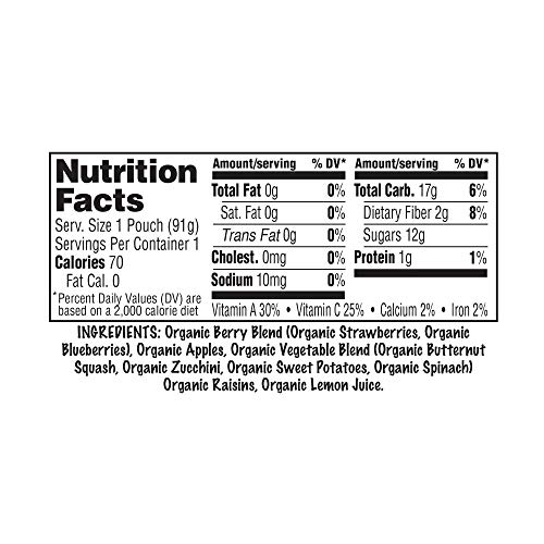 Sprout Organic SMASH Snack Pouches Fruit and Vegetable Puree, Berry Blast, 3.2 Ounce, 16 Count by Sprout (Image #4)