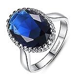 F&F Ring Platinum Plated Elegant Blue Big Stone Ring Fine Jewelry for Women Wedding Rings