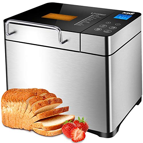 KBS Stainless Steel Bread Machine,1500W 2LB 17-in-1 Programmable XL Bread Maker with Fruit Nut Dispenser, Nonstick Ceramic Pan& Digital Touch Panel, 3 Loaf Sizes 3 Crust Colors, Reserve& Keep Warm Set (Best Bread Maker For Pizza Dough)