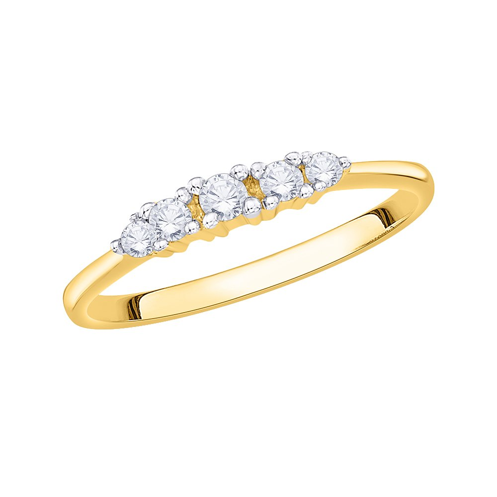 Diamond Wedding Band in 10K Yellow Gold 1//6 cttw, G-H,I2-I3 Size-4.75