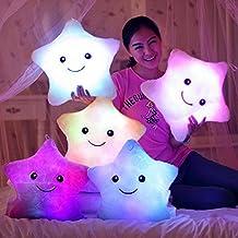 Chunlin Luminous Stuffed Throw Pillow Christmas Gift Toys Led Light Plush Pillow Lucky Stars For kids (Pink)