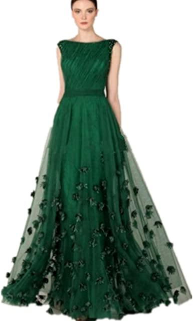 Amazon.com: Formaldresses Emerald Green Prom Dress Formal Evening Gown for  Women Plus Size with Flower Beads (US Size 16, Emerald Green): Clothing