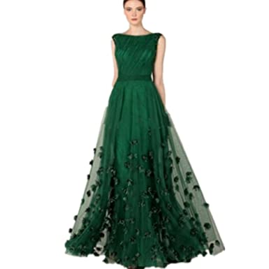 Formaldresses Emerald Green Prom Dress Formal Evening Gown for Women Plus Size with Flower Beads (