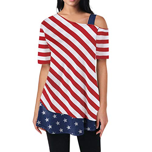 BIBICAT Cold Shoulder Flag Striped Printed Patchwork Short Sleeve Tops Blouse Red