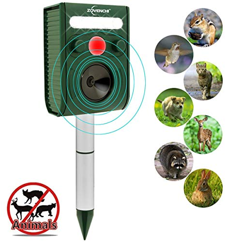 ZOVENCHI Solar Ultrasonic Animal Repeller, Waterproof Solar Animal Repeller Rodent and Pest Repeller Cats, Dogs, Mice, Squirrel Repellent, Motion Activated with Flashing LED Light ()