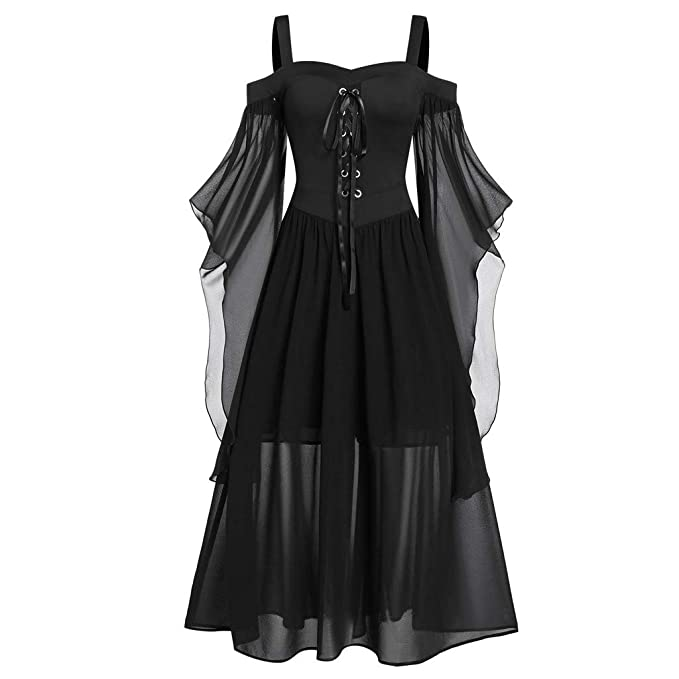 TWGONE Goth Dress for Women Plus Size Cold Shoulder Tie Front Lace Sleeve  Halloween Dresses