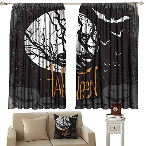 Exquisite Curtain Vintage Halloween Halloween Themed Image with Full Moon and Jack o Lanterns on a Tree Light Blocking Drapes with Liner W55 xL63 Black White