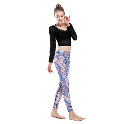 L.J.J Pantalones Mujeres Corriendo Pantalones de Yoga Entrenamiento Gimnasio Leggings Mapa XXXL Leggings (Color : Azul, Size : M): Deportes y aire libre