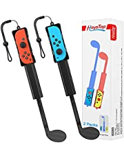 Switch Golf Club Compatible with Nintendo Switch Controller Joy-Con, Nintendo Switch Sports Game Accessories Pack for Mario Golf Super Rush, Twin Pack, Black