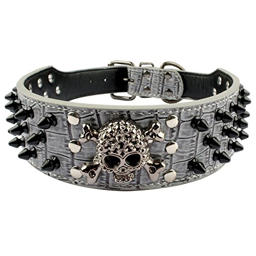 Beirui Spiked Leather Dog Collar - 3 Rows Bullet Rivets Studded PU Leather - Cool Skull Pet Accessories Best Choice for Medium and Large Dogs,Grey 15-18