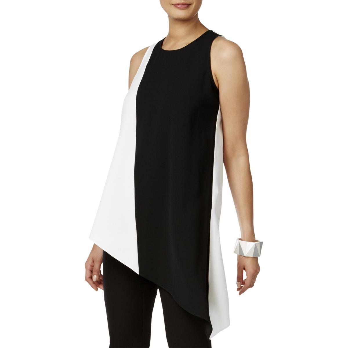 Alfani Womens Colorblock Asymmetrical Tunic Top B/W 6 by Alfani (Image #1)