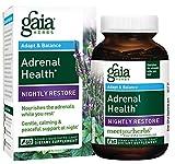 Gaia Herbs Adrenal Health Nightly Restore, Vegan Liquid Capsules, 60 Count - Calming Sleep and Stress Support, Ashwagandha, Reishi, Cordyceps, Lemon Balm