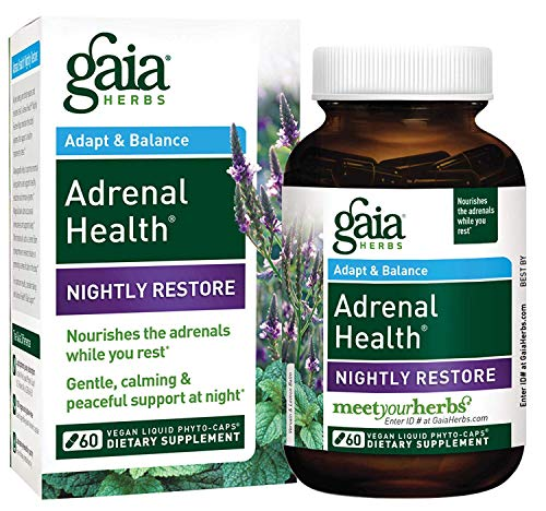Gaia Herbs Adrenal Health Nightly Restore, Vegan Liquid Capsules, 60 Count - Calming Sleep and Stress Support, Ashwagandha, Reishi, Cordyceps, Lemon Balm