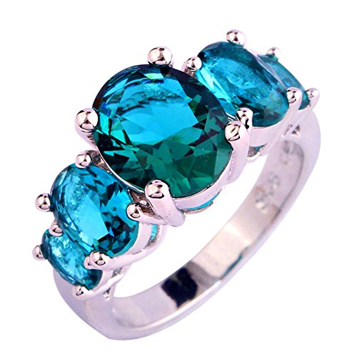 Psiroy 925 Sterling Silver Created Green Topaz Filled 5 Stone Engagement Ring Band Size 7