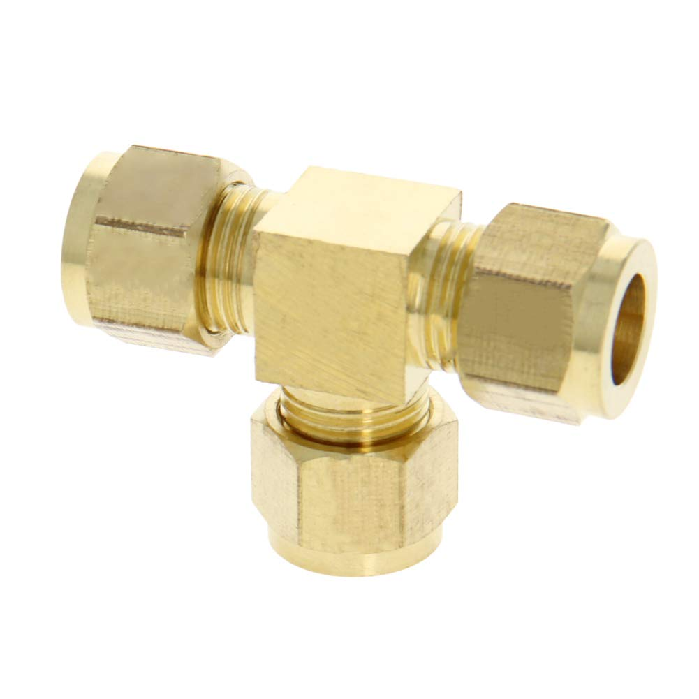 MroMax Brass Compression Tube Fitting 10mm//0.39 ID Tee Pipe Adapter for Garden Water Irrigation System 3pcs