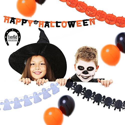 EverKid Happy Halloween Party Decoration Set 1 Banner 3 Garlands 10 Balloons ()