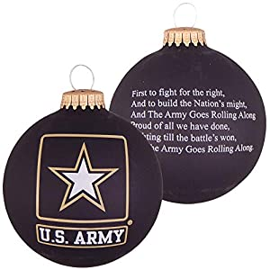 """Best Epic Trends 51HkLkvQ4JL._SS300_ Christmas by Krebs 3 1/4"""" (80mm) Made in the USA Designer Seamless Patriotic Logo and Hymn Glass Christmas Ball Keepsake Ornament, Army"""