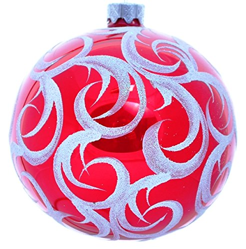 (Wise Elk Christmas Ornament Glass Ball Hand Blown Hand Painted Red Frost, Red 4