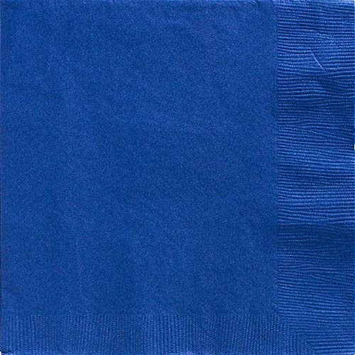 Amscan Bright Royal Blue 2-Ply Paper Dinner Napkin Big Party Pack, 50 Ct.