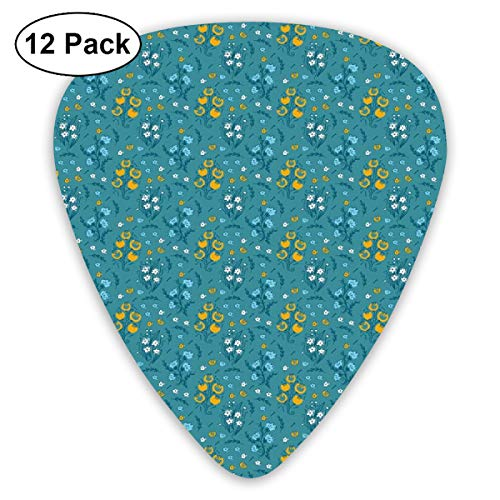 Guitar Picks 12-Pack,Repetitive Colorful Flowers Bouquet Tulips Leaves Branches Arrangement