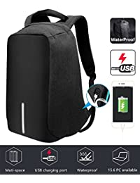 Jasonwell Mochila para Laptop Antirrobo con USB Puerto de Carga Portátil Mochila de Viaje Business Laptop Bolsa de Escuela Libro y Exterior College Fits Most Laptops