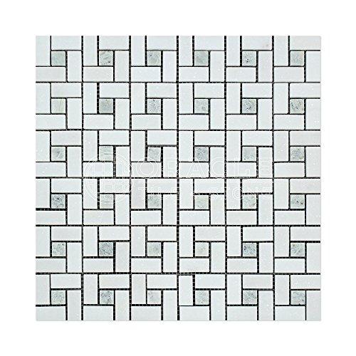 Thassos White Greek Marble Pinwheel Mosaic Tile with Ming Green, Honed