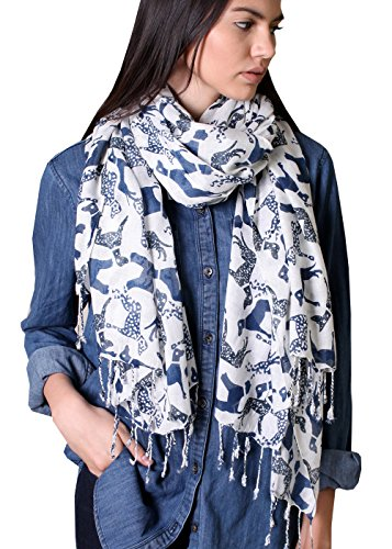 Labrador Dog Print (Scottie Terrier Labrador Dalmatian Dog Animal Print Scarfs, Tassels (Navy)