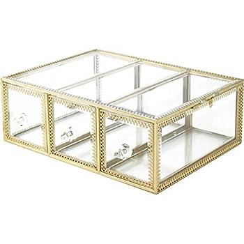 Amazon Com Hersoo Large Mirror Glass Top Dresser Make Up Organizer