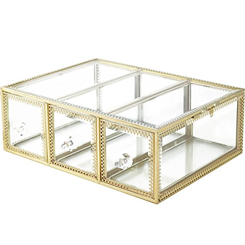 Hersoo Large Mirror Glass Top Dresser Make Up Organizer Jewelry &Cosmetic Display, Stackable Cube 6 Drawers Set Dresser Storage for Vanity with Lid,Bathroom Accessories Brushes Container (3drawerg)