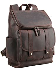 Polare Rustic Full Grain Leather 15.6 Laptop Backpack Travel bag Schoolbag Adventure bag