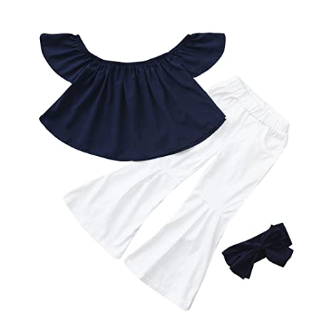 Toddler Baby Kids Girls Off Shoulder Solid Flare Shirt Summer Clothes Outfits
