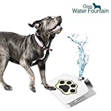 Dog Water Fountain, Upgraded Version Stainless Step On Doggie Drinking Fountain Paw Activited Pet Water Sprinkler for Fresh Drinking Water