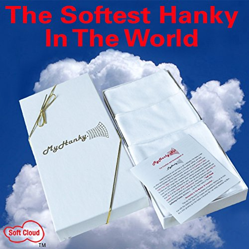 White 3 Pack My Hanky  The Softest Cotton Handkerchief In The World  Best Gift Under 20 Dollar For Dad  Grandfather  Husband  Brother  Uncle