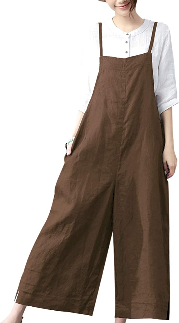 Cottagecore Clothing, Soft Aesthetic YESNO Women Casual Cropped Bib Pants Wide Leg Jumpsuits Baggy Rompers Overalls/w Pockets PZZ $31.99 AT vintagedancer.com