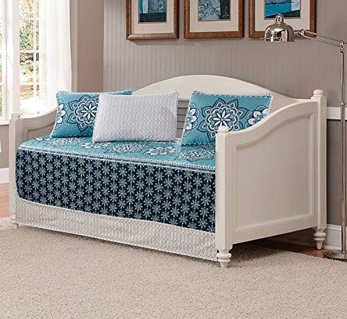 Luxury Home Collection 5 Piece Daybed Quilted Reversible Coverlet Bedspread Bed Cover Set Floral Printed Medallion Turquoise