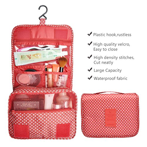Multifunction Portable Waterproof Travel Kit Toiletry Travel Cosmetic Bag Hanging Hook For Men and Women Red by TxoLIFE (Image #3)