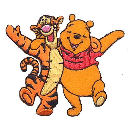 Iron on patches - WINNIE THE POOH 'WINNIE & TIGGER' - yellow - 7,5x6,4cm - by catch-the-patch Application Embroided patch badges