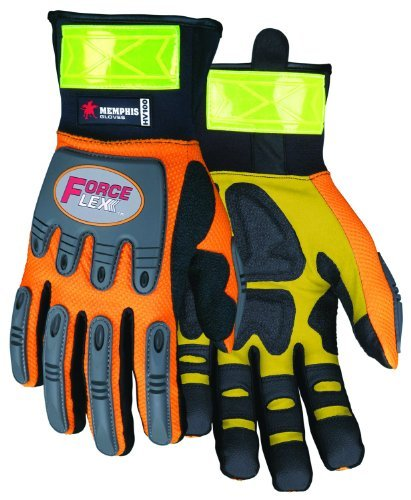 MCR Safety HV100XXL ForceFlex High Visibility Clarino Synthetic Leather Gloves with Reflective Material Cuff, Orange/Black, 2X-Large, 1-Pair by MCR Safety