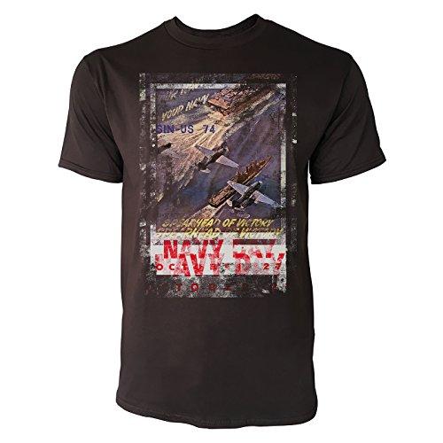 SINUS ART® Navy Day Herren T-Shirts braunes Cooles Fun Shirt mit tollen Aufdruck