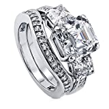 BERRICLE Rhodium Plated Sterling Silver Cubic Zirconia CZ 3-Stone Engagement Ring Set Size 4