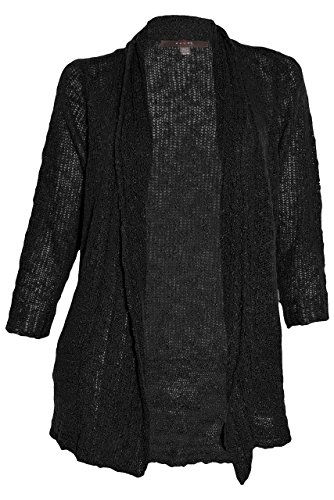 Fever Sheer Knit Open Cardigan (Black, Small)