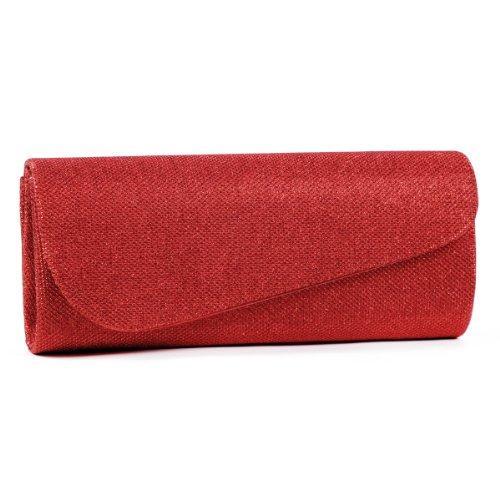 Womens Glitter Clutch Handbags red Damara Flap Oblique vdqRCwZ