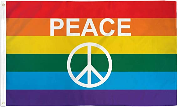 PL436W04 LGBT pride rainbow peace sign stormproof gas lighter