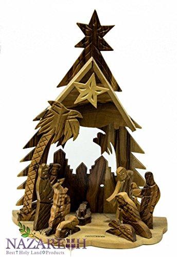 Bethlehem Music Nativity Statue Hand Carved Olive Wood Set Holy Land 11'' by Holy Land Gifts (Image #1)