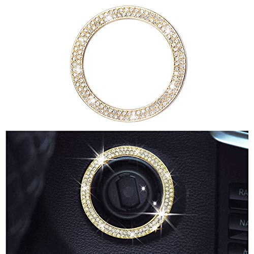 1797 Compatible Engine Caps for Mercedes Benz Accessories Parts Bling Start Stop Push Button W205 C117 X156 X253 C CLA GLA GLC Class Covers Decals Interior Decoration AMG Women Men Crystal Gold